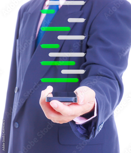 business man holding smart phone with chat balloon