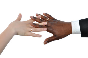 Female white and black man's hand newly married
