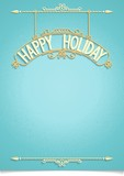 Holiday template for wishes with 3D typography composition