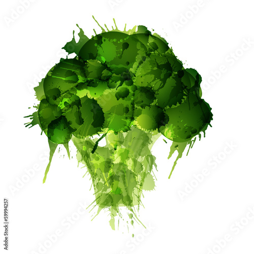 Broccoli made of colorful splashes on white background