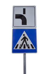 Traffic sign for pedestrian crossing and direction of priority r