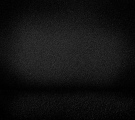 Black minimalist grainy wall background and black floor.