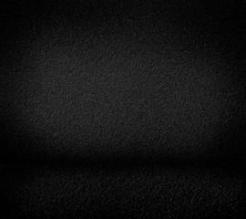Black minimalist grainy wall background and black floor.