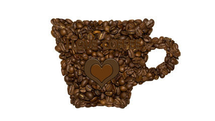 a Cup of coffee with chocolate heart