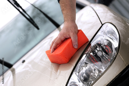 Washing the car with hand