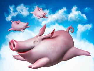 Funny flying piggies. Sky divers