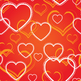 Seamless background with decorative hearts