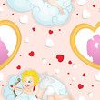 Cupidon pattern with heart frame