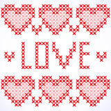 Decorative card with cross-stitched hearts