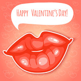 Decorative card with lips for Valentines Day, eps10