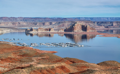 Port for white yachts on Lake Powell