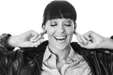 Young Woman with Fingers in Ears