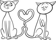 Koty w miłości Kolorowanka z kreskówki