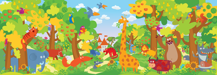 Cute zoo animals. Vector illustration