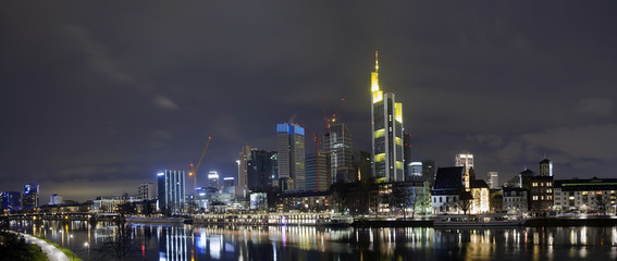 Evening panorama of Main river and business district, Frankfurt