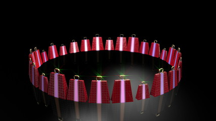 Red gifts on black background. Holiday sale 3d animation