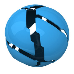 Blue shattered ball - abstract 3d object
