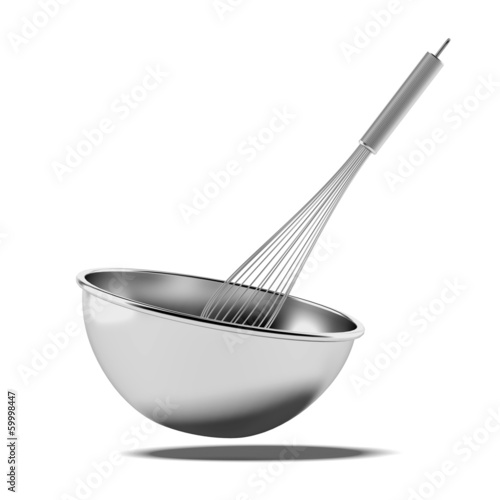 Bowl with a whisk