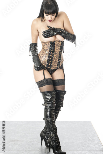 Fetish Model Posing in a Corset