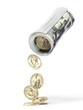 Roll of dollar notes and coins