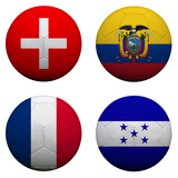 soccer balls with group E teams flags, Football Brazil 2014. iso