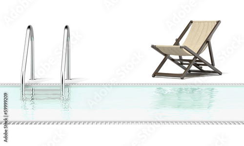 swimming pool and empty resting chair