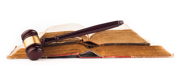 judge gavel and old law books
