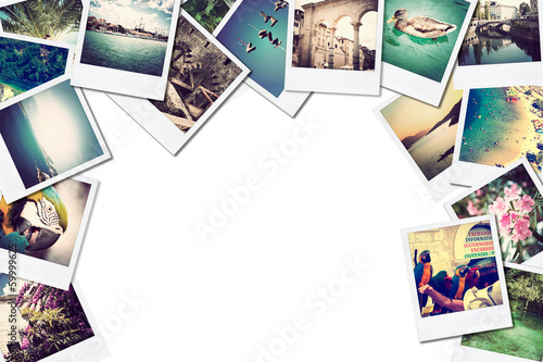 A pile of photographs with space for your logo or text. - 59999625