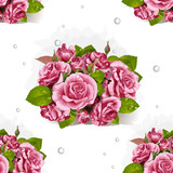 Seamless pattern of a romantic bouquet of pink roses