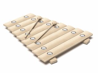 Classical wooden xylophone with mallets