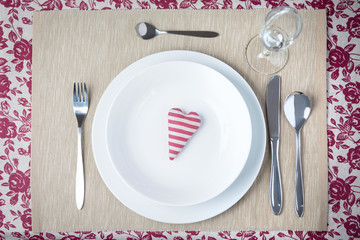 Valentine dinner concept - heart on a plate