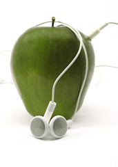 Green Apple with Earbuds