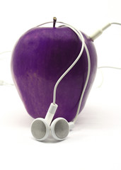 Purple Apple with Earbuds