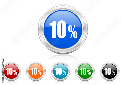 10 percent icon vector set