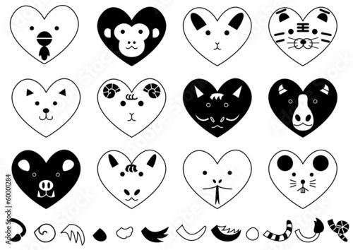 ハート型の十二支の動物モノクロ