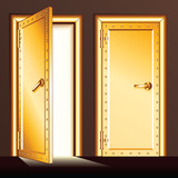 Golden Vault Door. Vector Illustration