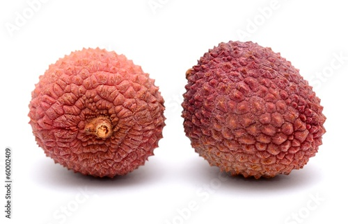 Litchi (Litchi chinensis) placed on the white background.