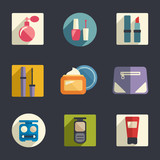 Cosmetics flat icon set