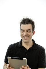 Portrait of a happy young man with tablet pc