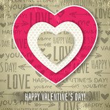 Fototapety beige background with  red valentine heart and wishes text,  vec
