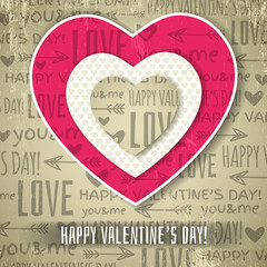 beige background with  red valentine heart and wishes text,  vec