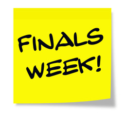Finals Week yellow sticky note