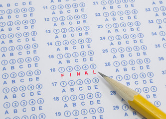 Final test scantron sheet with pencil