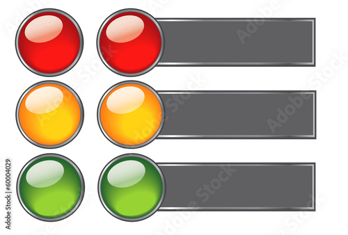 Buttons with colours of traffic light for web design