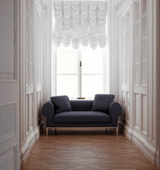 Luxury aged vintage classic hallway with sofa