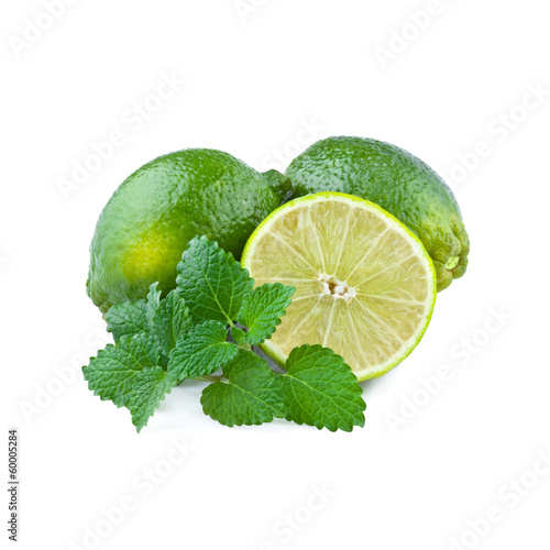 Fresh Lime with Mint Leaf isolated on white