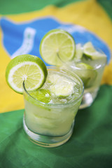 Two Fresh Lime Caipirinhas Brazilian Flag