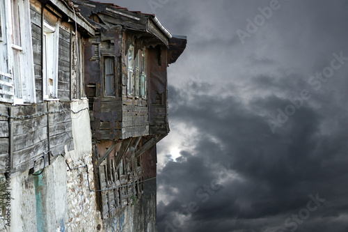 Old buildingon gray moody sky