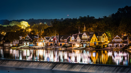 Boathouse Row by night taken from Spring Garden bridge