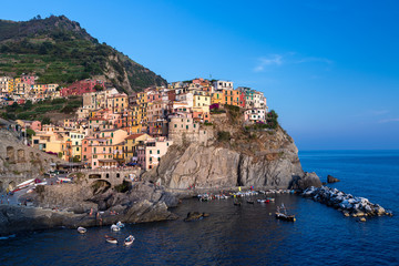 Coastal village with colorful old houses in Manarola, Italy.